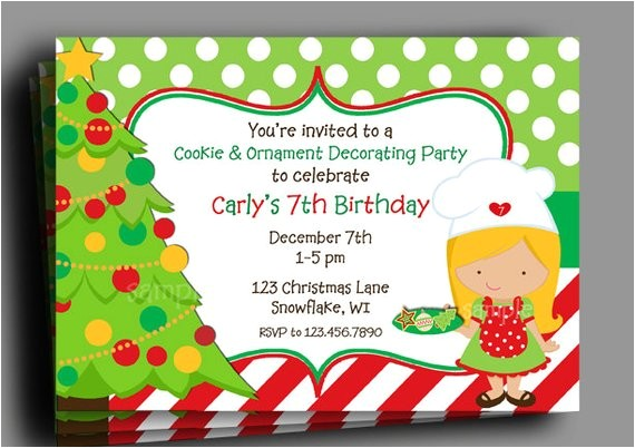 christmas invitation printable birthday cookie decorating