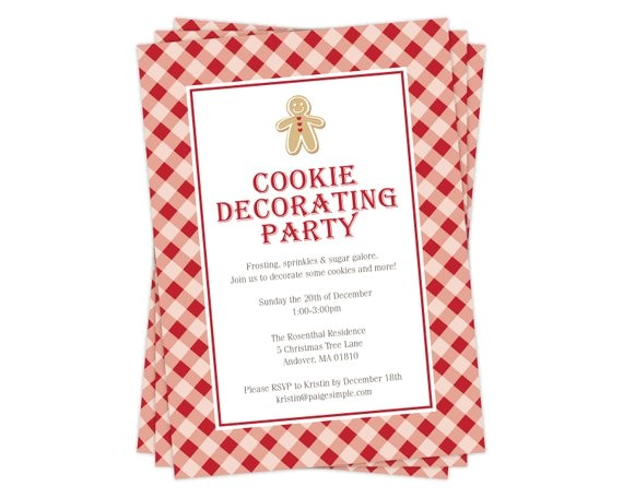 cookie decorating party invitation christmas invitation