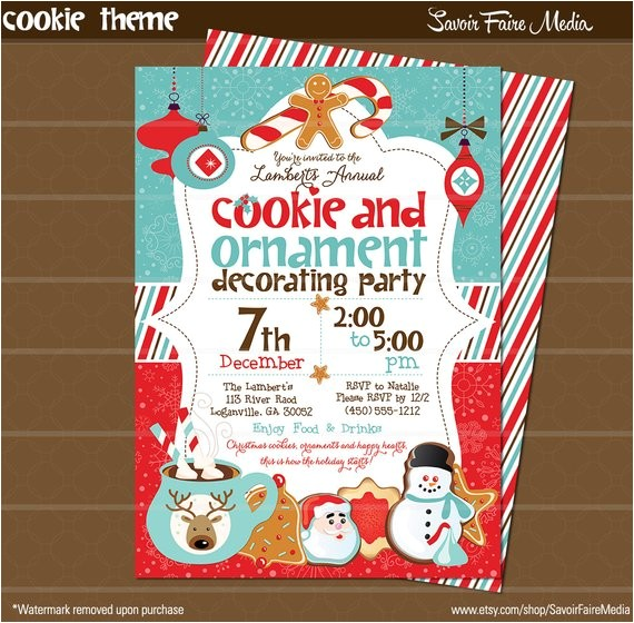 holiday cookie ornament decorating party invitation