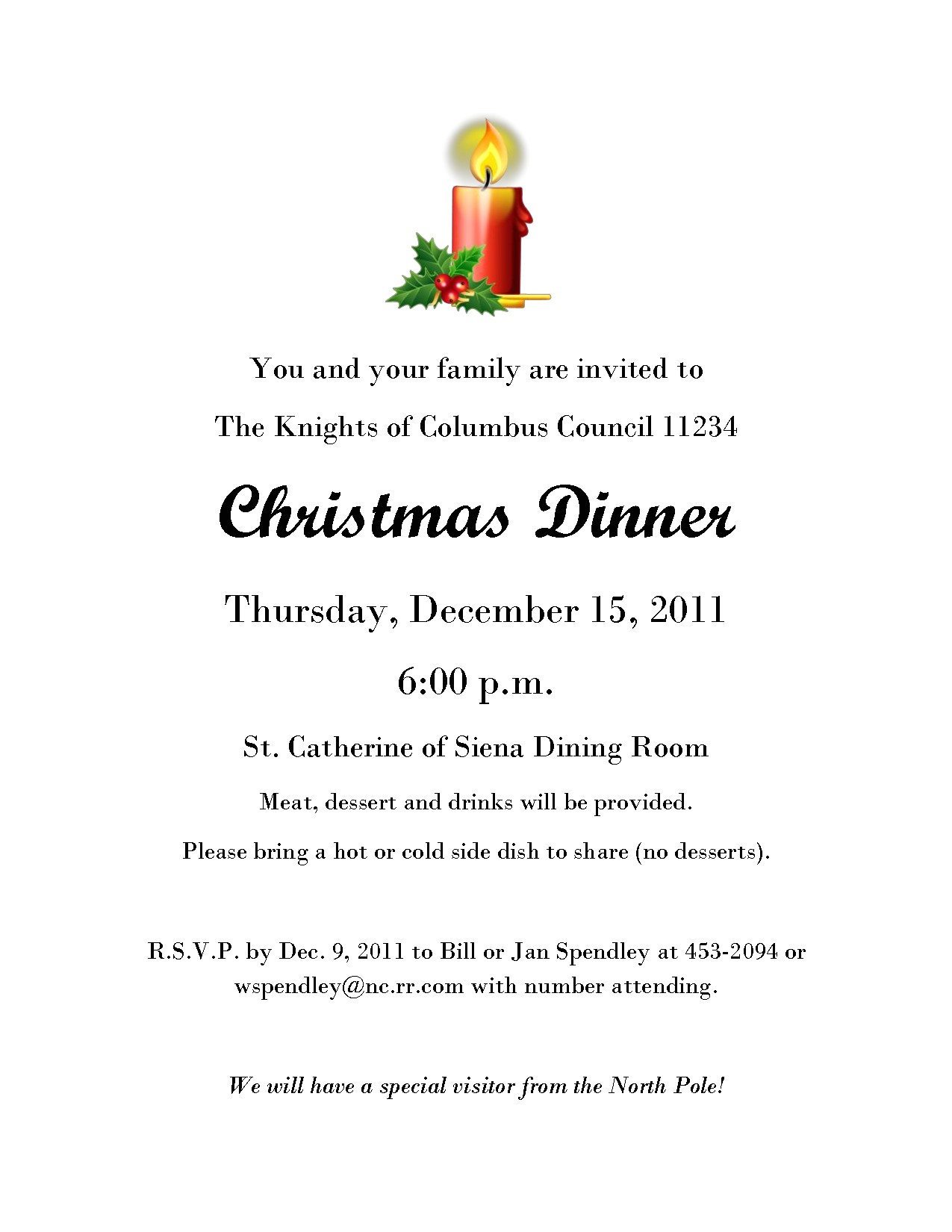 christmas eve dinner invitation