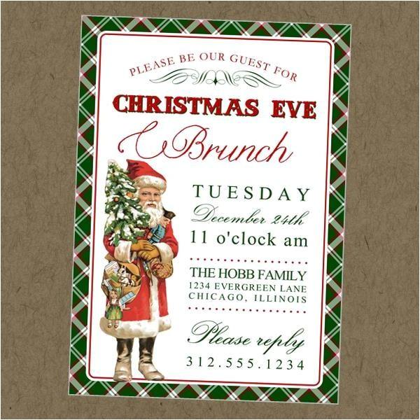 vintage santa printable invitation christmas eve brunch or christmas dinner