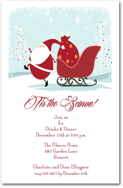 Christmas Eve Party Invitations Christmas Eve Santa Party Invitations