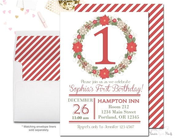 christmas 1st birthday invitation christmas birthday
