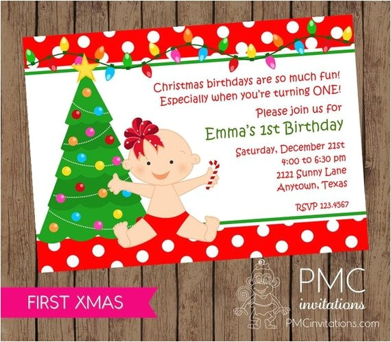 first birthday christmas party invitation envelope 3