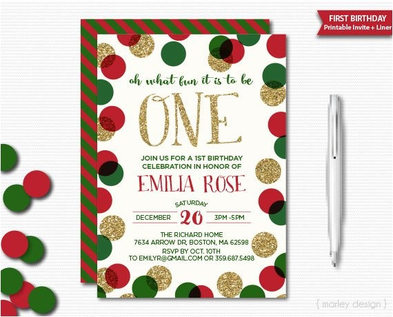 holiday birthday invitation red green