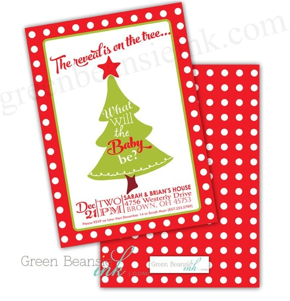 christmas baby gender reveal party invitation