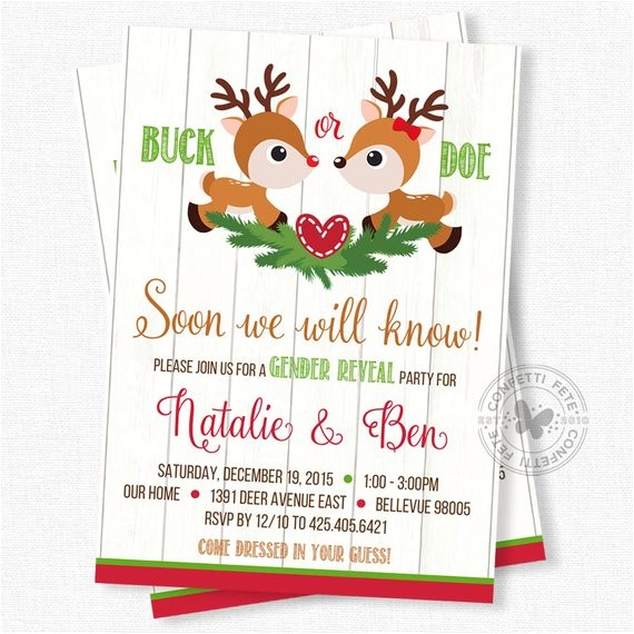 christmas gender reveal invitation deer gender