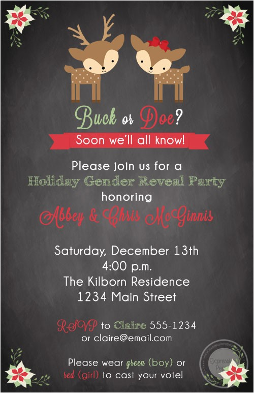 deer holiday gender reveal invitations