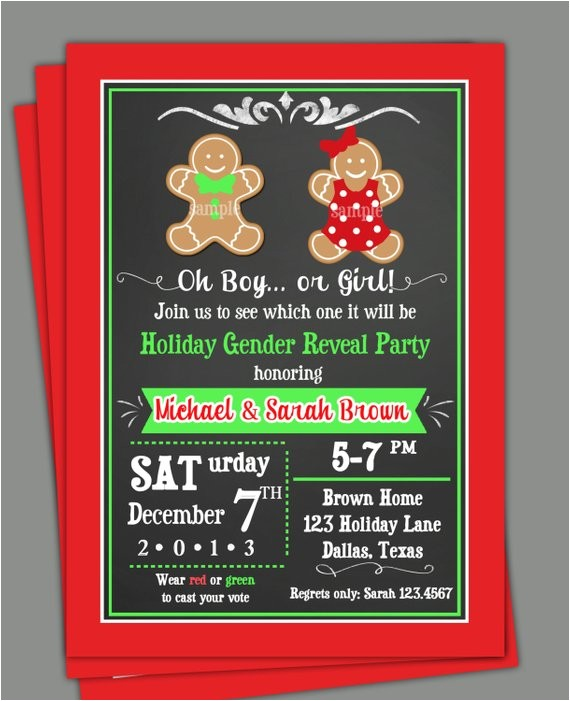 christmas gender reveal invitation printable sibling