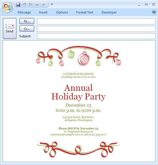 Christmas Holiday Party Email Invitation Template for Outlook Download Free Printable Invitations Of E Mail Message