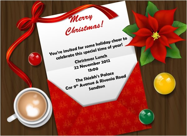 christmas work luncheon invitation wording