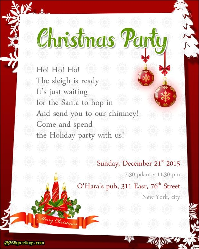 Christmas Party Invitation Message Christmas Party Invitation Wording Templates