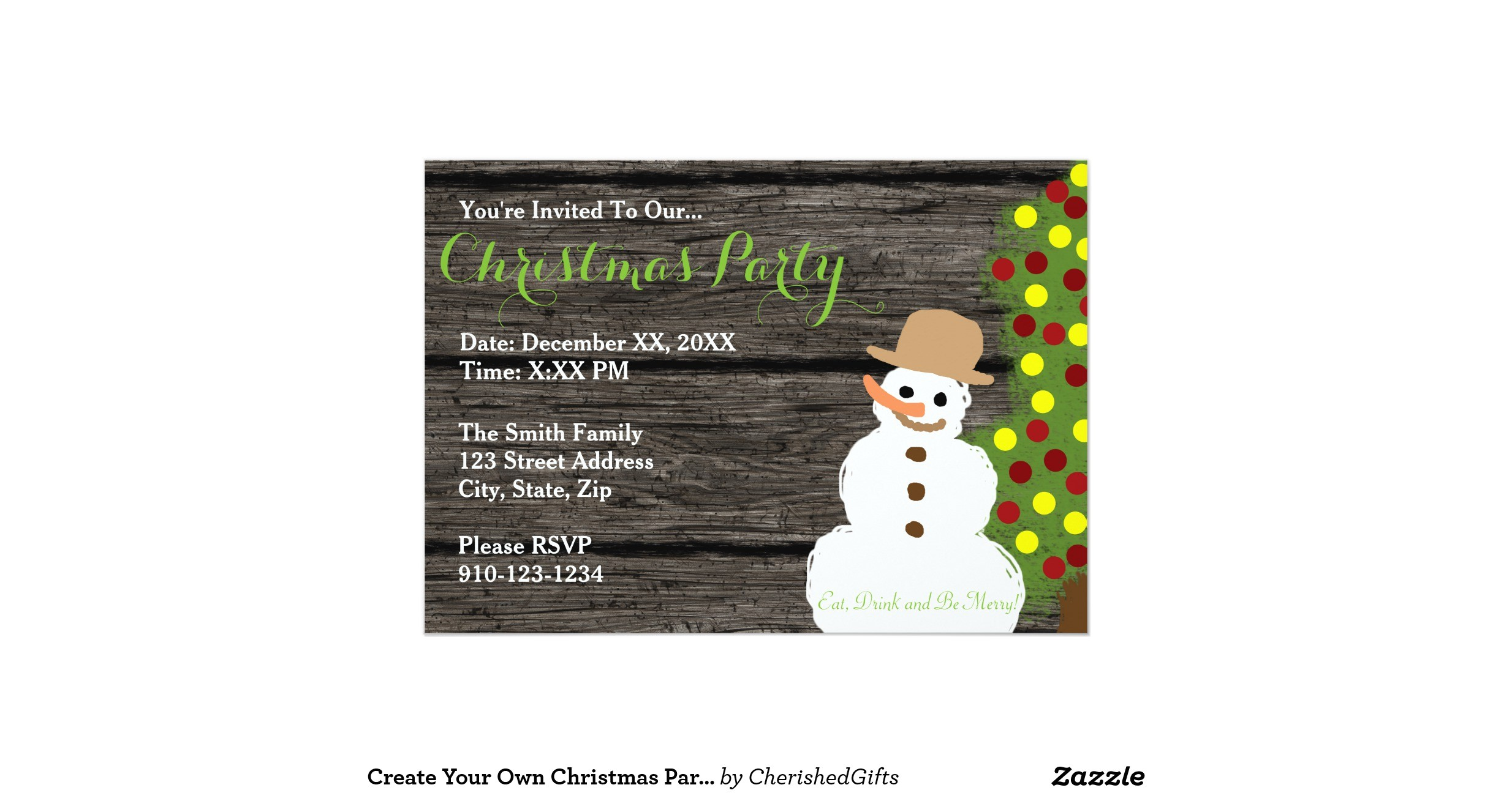 create your own christmas party invitation 256136805527974059