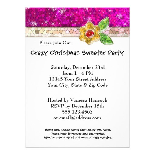 create your own ugly sweater christmas party bling invitation 161848787380529176