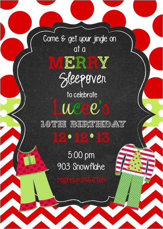 12 christmas pajama party invitations
