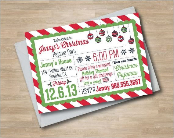 pajama party christmas invitation