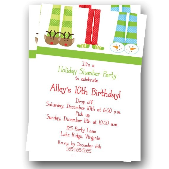 printable holiday slumber party birthday invitation