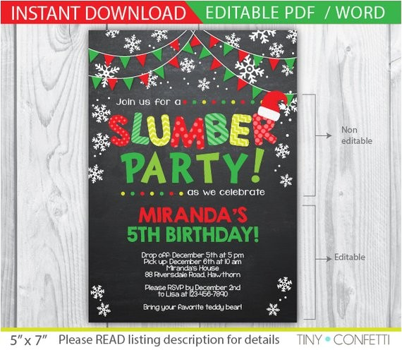 slumber party invitation christmas