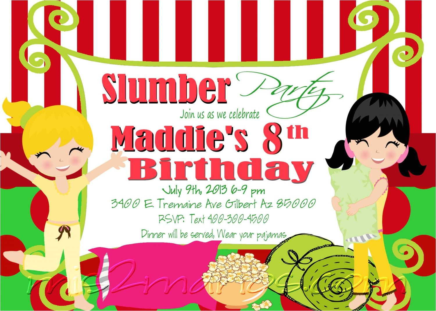 slumber party invitation sleepover invite