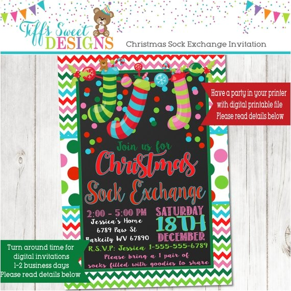 Christmas sock Exchange Party Invitation Christmas sock Exchange Party Invitation Kids Christmas
