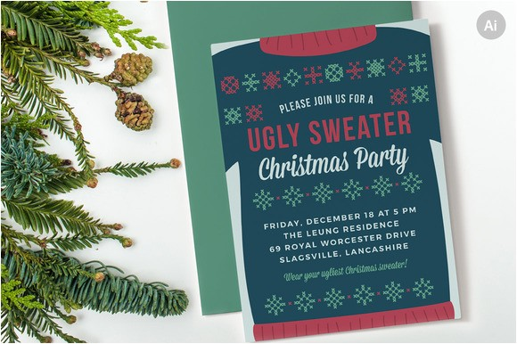 411142 ugly sweater christmas party invite