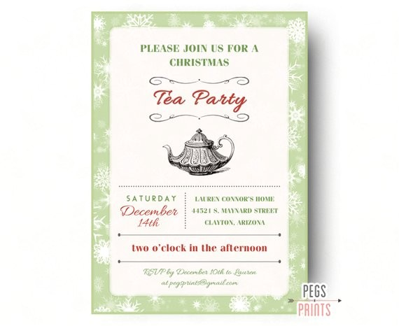 christmas tea party invitation printable