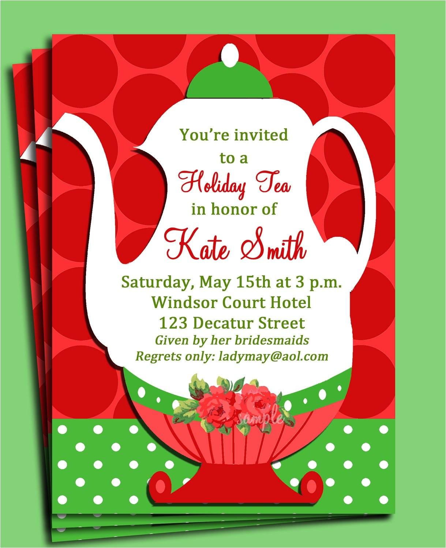 christmas tea party invitation printable