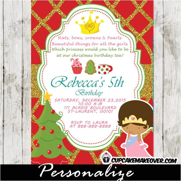 princess tea party christmas birthday invitation pink blue glitter d2
