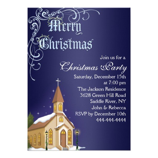 blue white church christmas party invite 161476668492058681