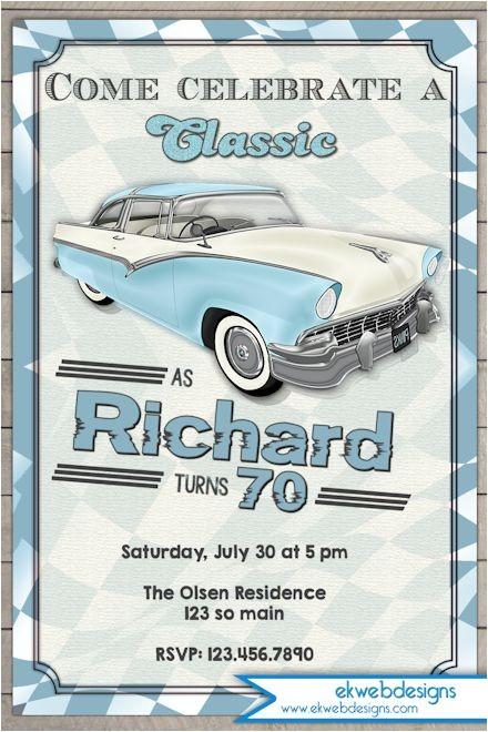 classic car birthday invitation vintage car adults birthday party invitation