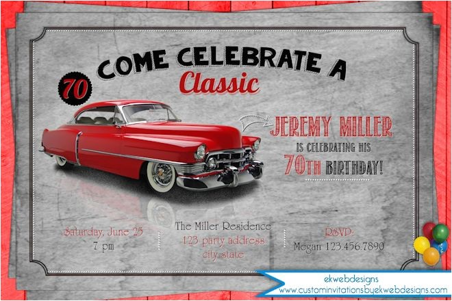 classic car birthday party invitation adult mens birthday invitation