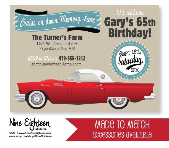 Classic Car Party Invitations Classic Car Birthday Party Invitation Red 57 by Nineeighteen