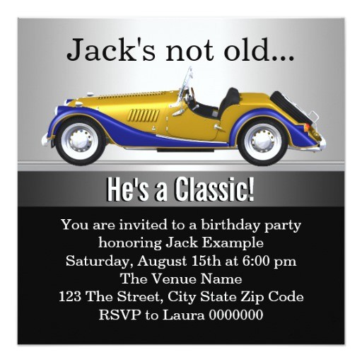 mans classic car birthday party invitation 161765024890012810