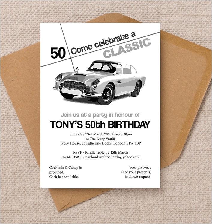 stylish classic car 50th birthday party invitation