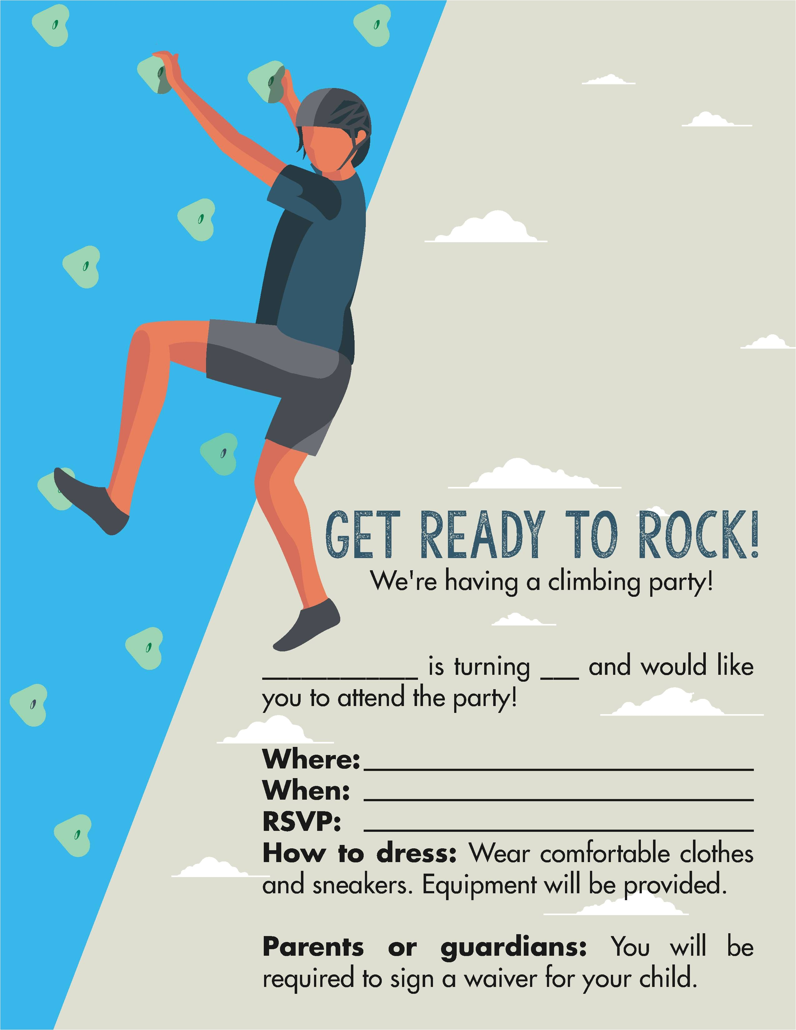 rock climbing birthday party invitations