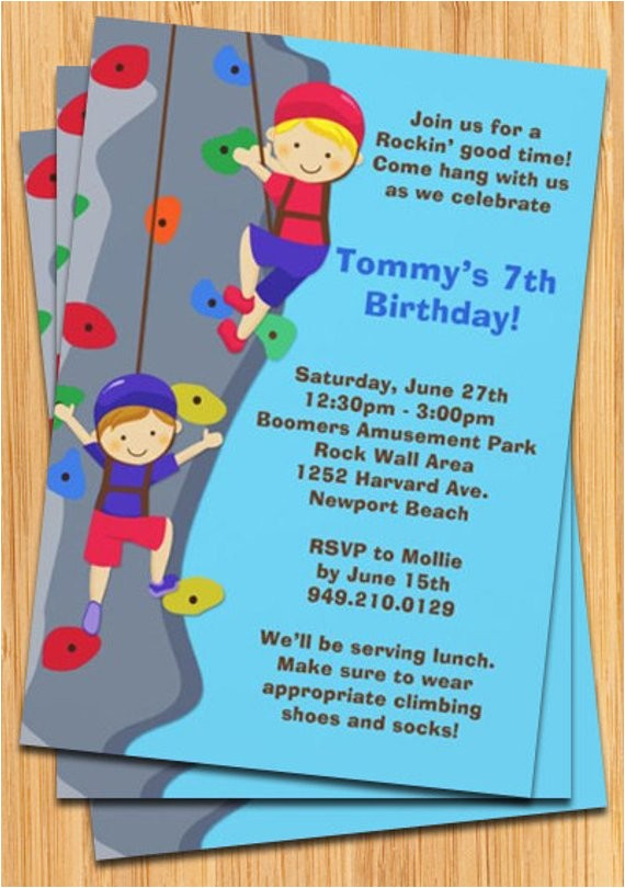 rock wall climbing birthday party