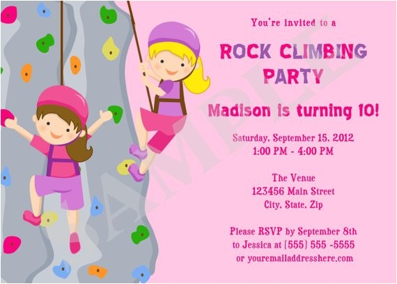 rock wall climbing girls birthday party