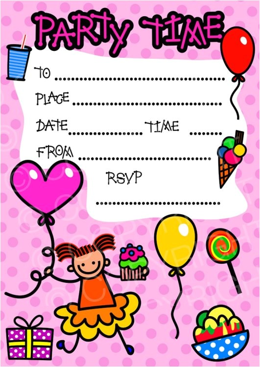 Clip Art Party Invitations Free Happy Girl Birthday Party Invitation Clip Art Prawny