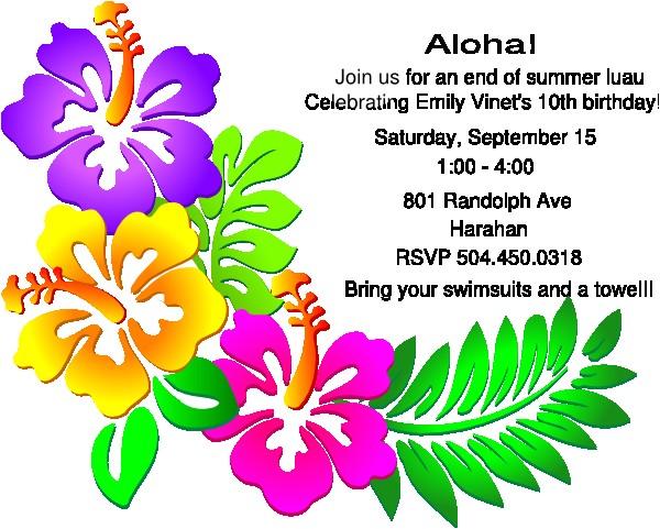clipart luau party invitation