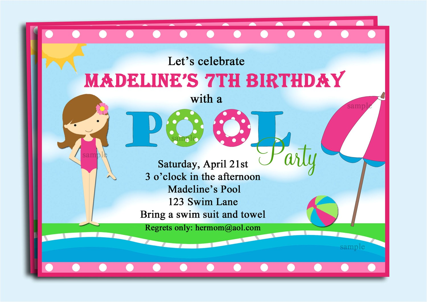 pool party invitations cliparts
