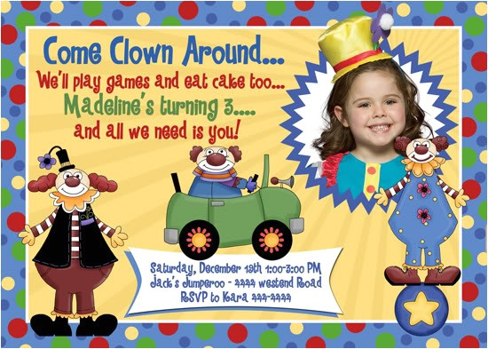clown birthday invitations ideas