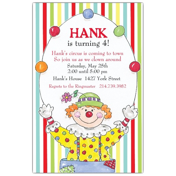 happy clown birthday invitations p 622 58 434ev