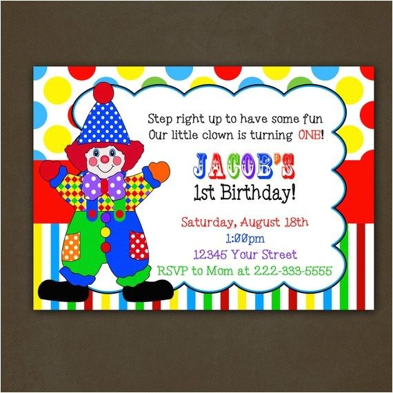 clown circus birthday party invitation