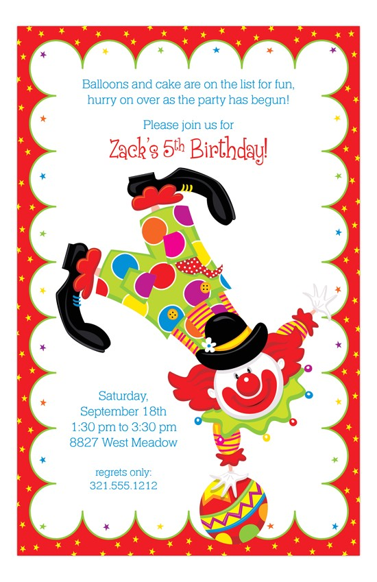 Clown Birthday Party Invitations Party Clown Kids Birthday Invitations Polkadotdesign Com