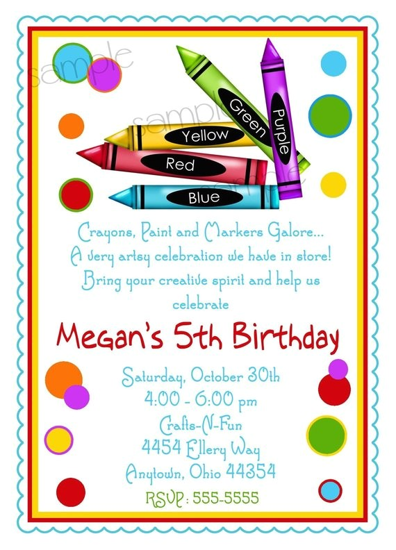 art party invitations crayon invitations