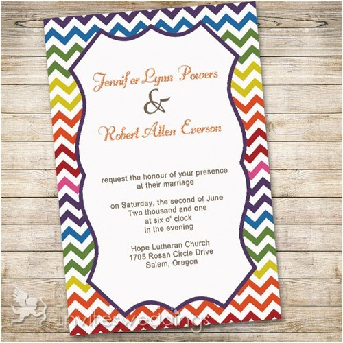 rainbow colors chevron wedding invitations iwi300 p 488
