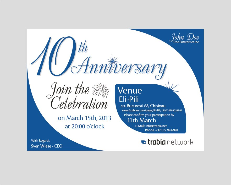 business anniversary invitation wording
