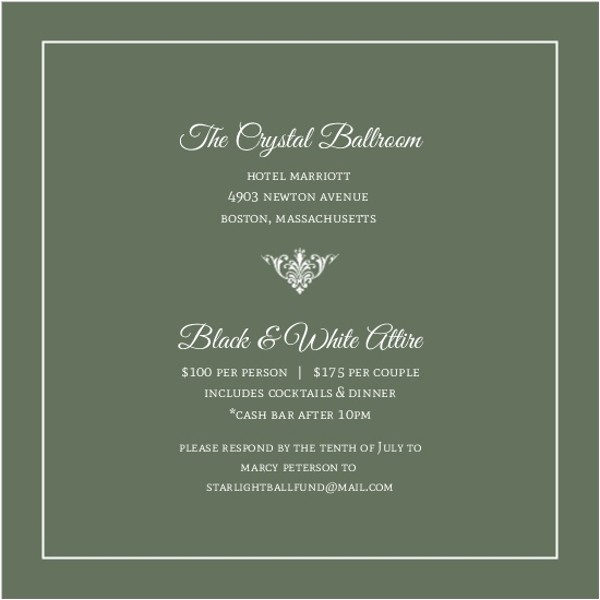 green elegant monogram business anniversary invitation