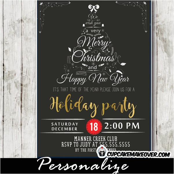 company holiday party invitations black white christmas word tree