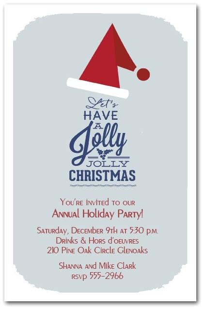 Company Holiday Party Invitation Ideas Jolly Jolly Santa Hat Christmas Invitations Holiday